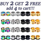 Pair Metal Double Flared Screw Fit Steel Ear Plugs Flesh Tunnels Gauge Earrings