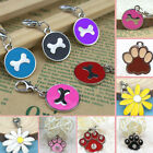 Pet ID Collar Disc Disk Charm Round Glitter Paw Bone Dog Cat Tag Pendant New