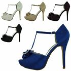 NEW LADIES PLATFORM HIGH STILETTO HEEL ANKLE STRAP WOMENS COURT SHOES SIZE 3-8