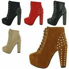 NEW LADIES HIGH BLOCK HEEL LACE UP CASUAL BIKER PLATFORM WOMENS ANKLE BOOTS SIZE
