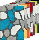 Silver Rug Runner Bright Funky Pebbles Design 3D Texture Hand Carved Soft Pile