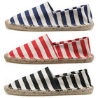 Women/Men Striped Canvas Moccasins Loafers Linen Sole Flats Casual 3 Colors New