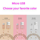Gold Wire Braided Type-C & Micro USB Data Sync Charger Charging Cable Cord Lot