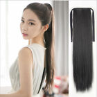 100% Human Hair Extensions 16 inch Ponytail Wrap On Ribbon Straight Hair Pieces