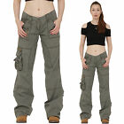 New Womens Army Miltary Style Green Wide Loose Leg Combat Trousers Cargo Pants