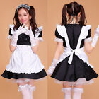 Black Princess Cosplay Uniform Lolita Costume Dress Ruffle Maid Outfit S-2XL New
