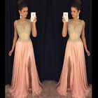 Side Split Evening Dress Beaded Sequins Formal Long Chiffon Prom Pageant Dresses