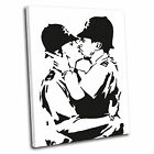 Banksy Kissing Police Canvas Wall Art Print Framed Picture PREMIUM QUALITY