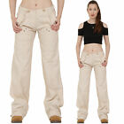 New Ladies Womens Beige Lightweight Wide Loose Leg Cargo Pants Combat Trousers