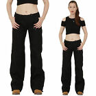 New Ladies Womens Black Lightweight Wide Loose Leg Cargo Pants Combat Trousers