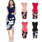 Successful Women Floral Printed Bodycon Cocktail Pencil Dress Business Meeting