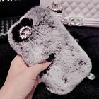 for iPhone 7 7+ Phone Case Deluxe Winter Warm Soft Fluffy Rabbit Fur Bling Cover