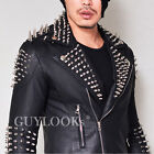 Spike Armor Stud Mens Slim Black Lambskin Leather Rider Biker Jacket By Guylook