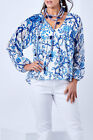 NEW boho bird Womens Blouses Through The Trees Silk Cotton Top BlueWhite