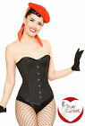 PinstriPe STEEL BONED Black WhIte Pinup Overbust CorseT By PLAYGIRL (Goth Emo)