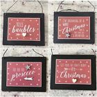 East of India Christmas Hanging Sign Plaque Gift Prosecco Xmas