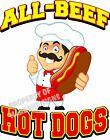 All Beef Hot Dogs DECAL (Choose Your Size) Food Truck Sign Restaurant Concession