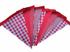 Bunting red gingham stripe spots check single sided wedding garden party