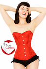 STRONG Steel Boned Sexy HOT Vampire RED Overbust Floral Design BROCADE Corset