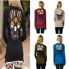Hollow Out Skull Pattern T-Shirt For Women Blouse Stylish Long Sleeve Top Black