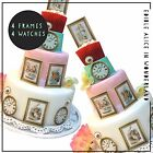 Alice in Wonderland Edible Frames + Stop Watch Cake & Cupcake Decorations x 8