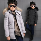 Boys Kids Solid Thick Warm Removable Wool Cap Hooded Long Winter Outwear Coat