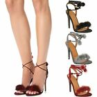 New Womens Ladies High Heel Sandals Ankle Tie Up Fur Fluffy Strappy Party Size