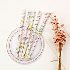 25/50/100PCS Colored Paper Drinking Straws  Retro Vintage Floral Party Wedding