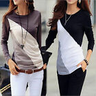 Fashion Women Crew Neck Casual Tops Cotton T-Shirt Slim Long Sleeve Blouse Go