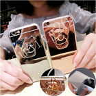 Shockproof Bling Mirror Lovely Bear Ring Stand Soft TPU Case Cover For Phones