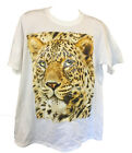 New  Women's Ladies Leopard Face Rhinestone Animal Tigers Big Cat White T Shirt