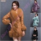 Womens Fur Collar Parka Pu Leather Warm Mid Outwear Coats Europe Style Overcoat