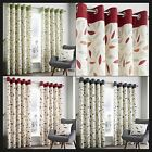 Brandy Lined Eyelet Curtains Modern Bright Tree Leaves Ready Made Pair Ring Top