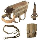 DOG TACTICAL VEST+LEASH+WATER HOLDER+MOLLE BAG COYOTE HUNTING MILITARY K9