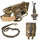 DOG TACTICAL VEST+LEASH+WATER HOLDER+MOLLE BAG REALTREE HUNTING MILITARY K9