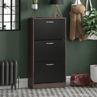 2 3 Drawer Shoe Cabinet Storage Cupboard Footwear Stand Rack Wooden Unit New