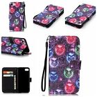 Colorful PU Leather Card Flip Pouch Wallet Case Cover For iPhone Samsung