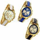 Luxury Men's Gold Tone Stainless Steel Band Watches Analog Quartz Wrist Watch image