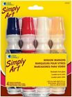 4 Ct Simply Art School Classroom Glass Washable Colored Window Markers 1.35 Oz
