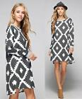 LONG SLEEVE TRIBAL PRINT SWEATER SHIFT DRESS Knit Top Tunic Pattern  Boho S M L