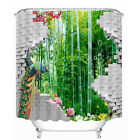 Asian Bamboo Shower Curtain Bathroom Waterproof Fabric 180cm Hooks Large