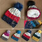 Cable Confetti KnitThick Beanie Sherpa Fleece Lining Faux Fur Pom Pom Skully Hat