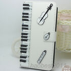 Crystal Magnetic Diamonds Music Piano Notes PU leather wallet flip case cover #5