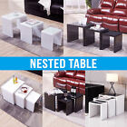 High Gloss Glass Nest of Coffee Table Side Table Living Room Furniture