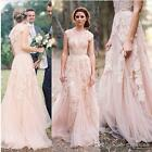 Vintage Deep V Neck Wedding Dress A Line Lace Applique Tulle Blush Bridal Dress