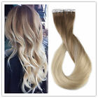 100% European Remy Human Hair Super Tape-in Extensions Balayage/Ombre Blonde