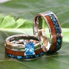 His and Her 3 piece Wedding Band Set Turquoise Koa Wood S...