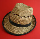 Mens Straw hat with band & leather piping, Small - Large avail! 3 sizes £7.49