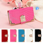MAGNETIC BLING DIAMOND FLIP WALLET LEATHER CARD CASE COVER FOR Samsung Galaxy