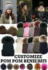 WOMEN'S WINTER WARM BOBBLE BEANIE KNITTED CUSTOMIZABLE FAUX FUR POM POM SKI HAT